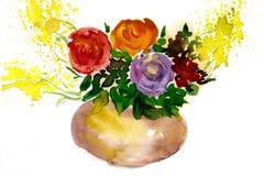 Pittura dell'acquerello dei fiori Fotografia Stock Libera da Diritti