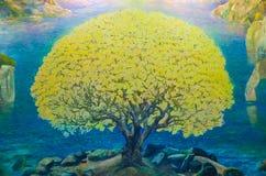 Pittura dell'acquerello del paesaggio della natura Fotografia Stock