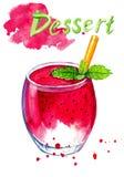 Pittura dell'acquerello del vetro con la crema del gelato alla frutta Fotografie Stock Libere da Diritti