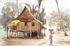 Pittura dell'acquerello del villaggio Fotografie Stock Libere da Diritti