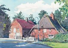 Pittura dell'acquerello della casa del cottage sul lato del paese fotografia stock