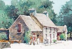 Pittura dell'acquerello della casa del cottage sul lato del paese immagini stock