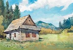 Pittura dell'acquerello della casa del cottage sul lato del paese fotografia stock libera da diritti