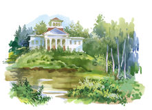 Pittura dell'acquerello della casa nell'illustrazione di legni Immagine Stock Libera da Diritti