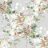 Pittura dell'acquerello della foglia e dei fiori, modello senza cuciture su grigio illustrazione vettoriale