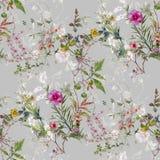 Pittura dell'acquerello della foglia e dei fiori, modello senza cuciture su grigio royalty illustrazione gratis