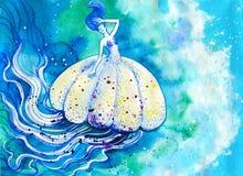 Pittura dell'acquerello della medusa Immagini Stock