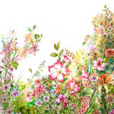 Pittura dell'acquerello delle foglie e del fiore illustrazione vettoriale