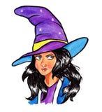 Pittura dell'acquerello di Halloween della strega del fumetto immagine stock