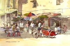Pittura dell'acquerello di paesaggio della città Fotografie Stock