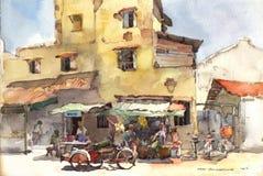 Pittura dell'acquerello di paesaggio della città Fotografia Stock