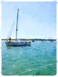 Pittura dell'acquerello di una barca a vela che esce al mare con alcuno Immagine Stock Libera da Diritti
