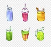 Pittura dell'acquerello di vettore, vetri del frullato, elementi su fondo trasparente leggero illustrazione di stock