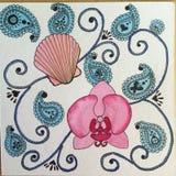 Pittura dell'acquerello di Zendoodle dell'orchidea e della conchiglia Immagini Stock