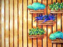 Pittura dell'acquerello, disegnata a mano su carta, illustrazione verticale del giardino Fotografia Stock