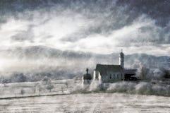 Pittura dell'annata di paesaggio di inverno Fotografia Stock Libera da Diritti