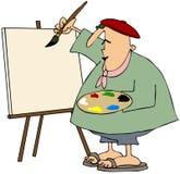 Pittura dell'artista su una tela di canapa in bianco Fotografia Stock