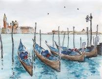 Pittura dell'inchiostro & dell'acquerello Fotografia Stock