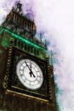 Pittura dell'orologio di Big Ben, stile di Digital dell'acquerello Fotografie Stock