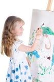 Pittura della bambina Immagine Stock