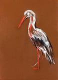 Pittura della cicogna illustrazione vettoriale