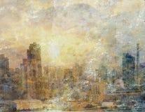 Pittura della città luminosa Fotografia Stock Libera da Diritti
