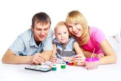 Pittura della famiglia Immagine Stock