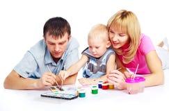 Pittura della famiglia Fotografia Stock Libera da Diritti
