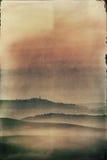 Pittura della foto d'annata - vista della città toscana di Pienza Fotografie Stock