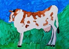 Pittura della mucca di Childs Immagini Stock