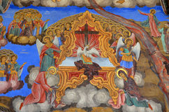 Pittura della parete alla chiesa del monastero di Rila Fotografie Stock Libere da Diritti