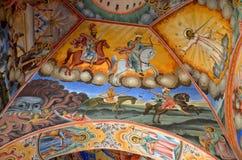Pittura della parete alla chiesa del monastero di Rila Fotografia Stock Libera da Diritti
