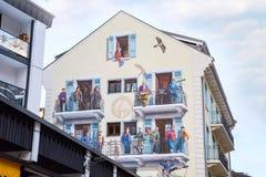 Pittura della parete a Chamonix-Mont-Blanc, alpi francesi Immagini Stock