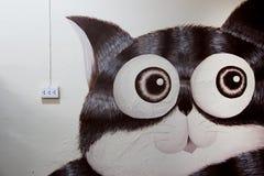 Pittura della parete del grande gatto Immagini Stock