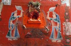 Pittura della parete nella vecchia città di Varanasi Immagine Stock