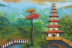 Pittura della parete in tempio buddista, Jakarta fotografie stock libere da diritti