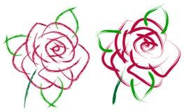 Pittura della rosa di rosa del colpo della spazzola Fotografie Stock Libere da Diritti