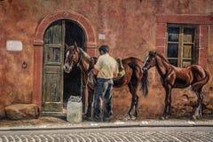 Pittura della via in Tinnura, Sardegna Fotografie Stock Libere da Diritti