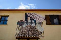 Pittura della via in Tinnura, Sardegna Fotografia Stock Libera da Diritti