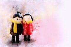 Pittura delle bambole delle coppie, stile di Digital dell'acquerello immagine stock