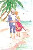 Pittura delle coppie sulla spiaggia Fotografia Stock Libera da Diritti