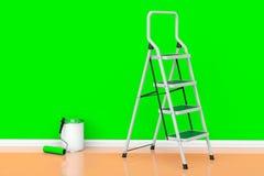 Pittura delle pareti in un concetto di colore verde La pittura può con rolle Fotografia Stock