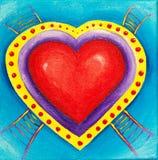 Pittura delle scalette che piombo ad un cuore rosso di amore Fotografia Stock