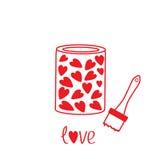Pittura di amore con i cuori dentro. Carta Immagine Stock Libera da Diritti