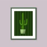 Pittura di arte con il cactus nel telaio su fondo grigio Immagini Stock Libere da Diritti