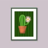 Pittura di arte con il cactus nel telaio su fondo grigio Fotografia Stock Libera da Diritti