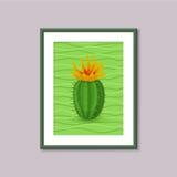 Pittura di arte con il cactus nel telaio su fondo grigio Fotografie Stock Libere da Diritti
