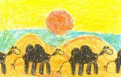 Pittura di arte con il cammello in deserto senza vita Immagini Stock