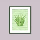 Pittura di arte con il succulente nel telaio su fondo grigio Fotografie Stock Libere da Diritti