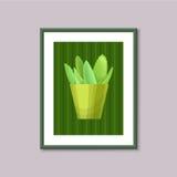 Pittura di arte con il succulente nel telaio su fondo grigio Fotografia Stock